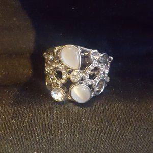 Paparazzi Silver, Moonstone and Rhinestone Ring
